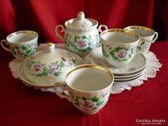 Régi orosz porcelán kávés / teás készlet vajtartóval