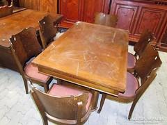 Art-deco nyitható étkező asztal + 6db szék