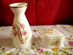 Hollóházi porcelán váza és ékszertartó