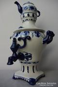 Gzsel orosz kék fehér porcelán szamovár