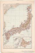 Japán és Kaukázus térkép1887, német, eredeti, régi