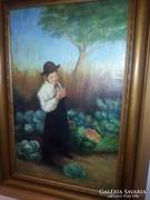 Peske Géza: fiú a kertben