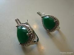 925 ezüst fülbevaló fazettált  Jade köves