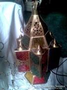 Régi keleti lámpa üvegbetétekkel