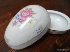 Hollóházi tojás alakú porcelán doboz ékszertartó virágos