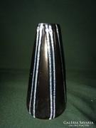 Retro fekete-kék iparművész Tófej váza 18 cm