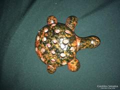 Retro narancssárga Tófej kerámia teknősbéka ceruzatartó