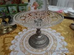 Fém tartón  üveg asztalközép