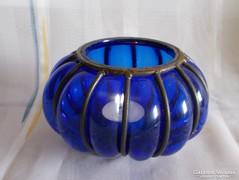 Kovácsolt vas - vastag kék üveg mécsestartó