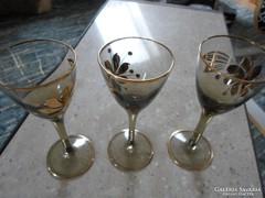 3 festett aranyozott likőrös pohárka kupica hibátlan