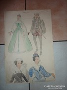 Szitás Erzsébet jelzéssel:Királynék,régi akvarell jelmezterv