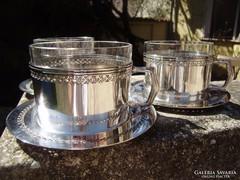 2 db. antik ezüstözött réz pohártartó eredeti üvegpoharával