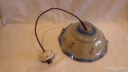 Antik fodros üveg festett lámpa