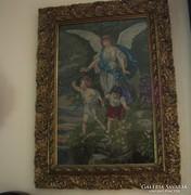 Antik tűgobelin kép, Eredeti fa keretében.