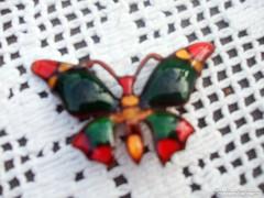 Régi tűzzománc pillangó bross