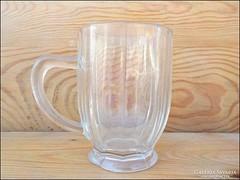 Antik szögletes kisméretű korsó , öntött üveg
