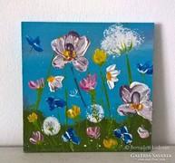 Virágos-modern kis festmény 25