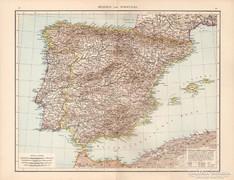Spanyolország és Portugália térkép 1881, német, eredeti