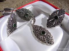 Gyönyorű zöld köves markazit  ezüst 925 szett AKCIÓ !!