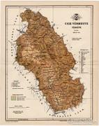 Csik vármegye térkép 1893, XIX. századi, antik, eredeti