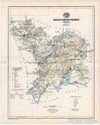 Jász-Nagy-Kun-Szolnok vármegye térkép 1894, régi, eredeti