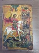 Régi orosz kézzel festett fa ikon