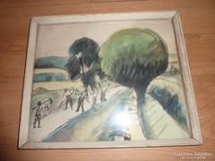 Nyergesi János:Munkálatok a határban, akvarell jelzett 1961