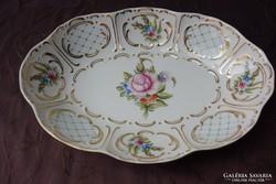 Gyönyörűséges hollóházi porcelán kínáló tál 28x20 cm
