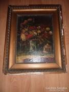 Fratuli jelzéssel: Pazar virágcsendélet, régi olaj-vászon