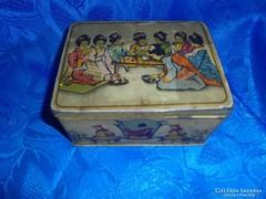 Festett kínai mintás fém teás doboz