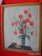 Régi szignózott pipacsos csendélet, festmény