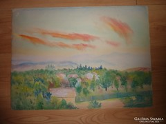 Vajszada Károly:Vörös az ég alja a falu felett,akvarell j.n.