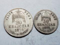 10-20 ezüst krajcár 1872-KB.-VP.!
