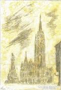 Mátyás templom, Budai vár, ceruzarajz,sárga lavírozás,papír