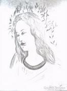 Angyalarc ceruzarajz, papír 33 x 23,5 cm Lehoczky József1997