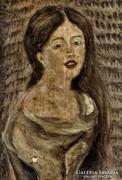 Leányportré, miniatűr olajfesrmény, vászon, Lehoczky József