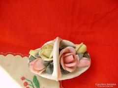 Ritka antik Karl Ens porcelán rózsakosár