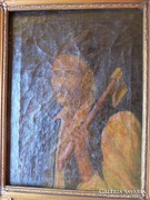 Régi szignált olaj vászon paraszt portré