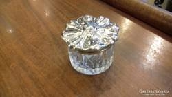 Ezüst fedelű üvegszelence/doboz