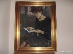 Balogh András festőművész Olvasó című festménye