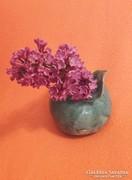 Zöld, kerámia asztali dísz, váza, tolltartó, nehezék