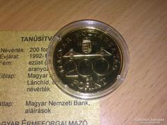 UNC 200 Forint /Aranyozott Ezüst, Certifikattal