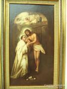17-18 századi csodás antik festmény Jézus a kereszten