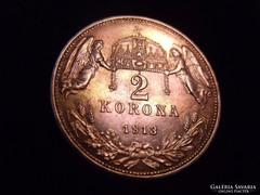 2 korona 1913 - UNC csodaszép patina