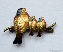 Antik bécsi bronz bross- melltű madarakkal