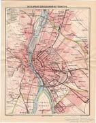Budapest közlekedési térkép 1912, eredeti nyomat, térkép