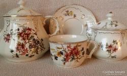 Antik fajansz sarreguemines teáskanna ,cukortartó és  csésze