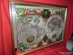 Világtérkép föld térkép falikép  tükör nagy méretű  86x60 cm