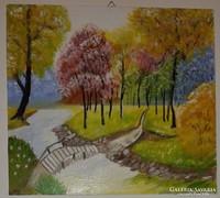 Tavasz, farost - vászon, akrillal festett tájkép