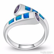 Mutatós és szuper divatos, kék opál köves gyűrű 7-es ÚJ!